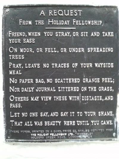 HF plaque outside Rowardennan Hotel at foot of Ben Lomond